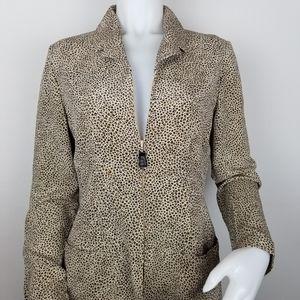 Dana Buchman Size 8 Silk Animal Print Jacket